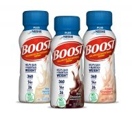 BOOST Plus® Drink bottles in Chocolate, Vanilla and BOOST Plus® Strawberry flavors