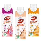 BOOST® Breeze clear liquid nutritional drinks in Orange, Peach and Wild Berry