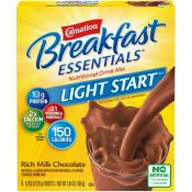 Carnation Breakfast Essentials® Light Start™ instant breakfast powder boxes in Chocolate and Vanilla flavors