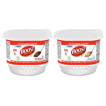 BOOST® Pudding nutrition containers in Chocolate and Vanilla pudding flavors