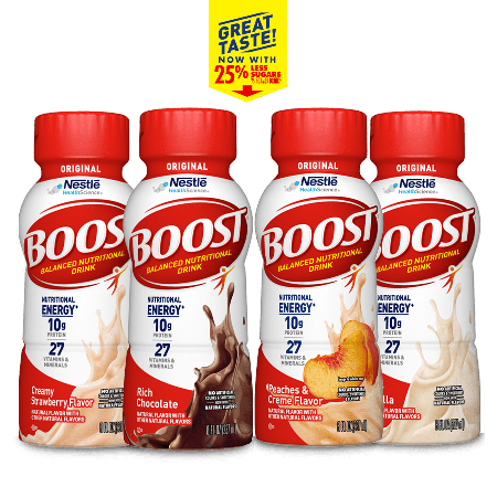 BOOST® Chocolate Vanilla, Strawberry, and Peaches & Creme Nutritional Drink Bottles